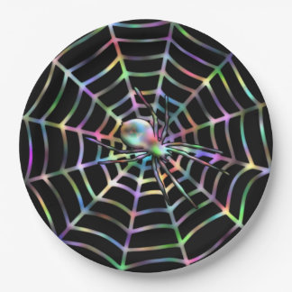 Spider and Web Halloween Paper Plates 9 Inch Paper Plate
