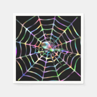 Spider and Web Halloween Party Napkins Paper Napkins