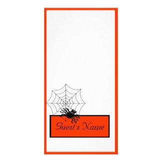 Spider and Web Halloween Place Card Photo Cards