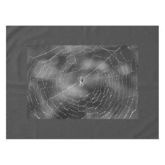 Spider and web photograph in black and white table tablecloth
