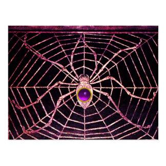 SPIDER AND WEB Purple Amethyst Black Postcard