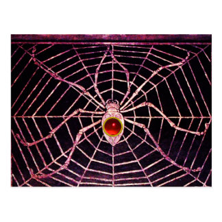 SPIDER AND WEB Red Ruby Black Postcard