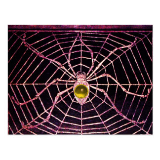 SPIDER AND WEB Yellow Topaz Black Post Card