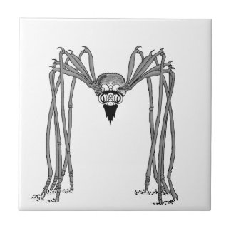spider . black and white tile