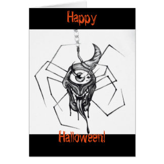 Spider drawing Halloween card
