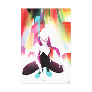 Spider-Gwen Neon City Canvas Print