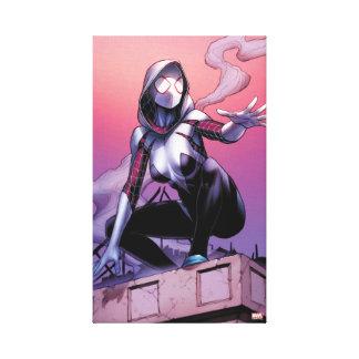 Spider-Gwen On Rooftop Canvas Print
