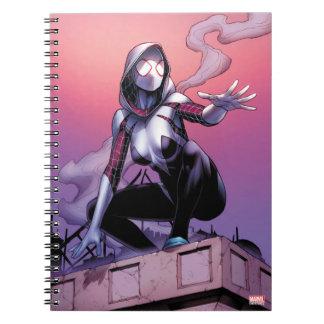 Spider-Gwen On Rooftop Spiral Notebook