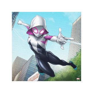 Spider-Gwen Web Slinging Through City Canvas Print