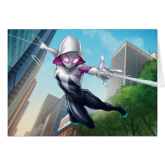 Spider-Gwen Web Slinging Through City Card