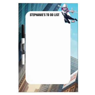 Spider-Gwen Web Slinging Through City Dry Erase Board