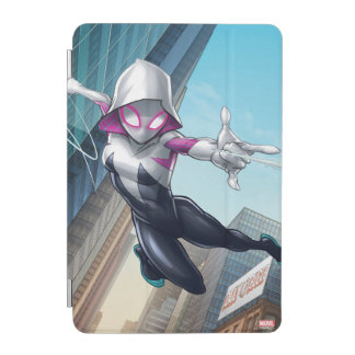 Spider-Gwen Web Slinging Through City iPad Mini Cover