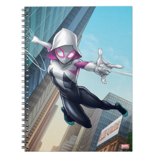 Spider-Gwen Web Slinging Through City Notebook