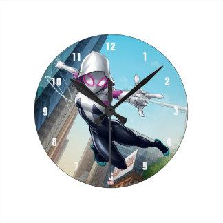 Spider-Gwen Web Slinging Through City Round Clock