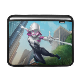 Spider-Gwen Web Slinging Through City Sleeve For MacBook Air