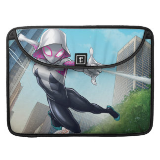 Spider-Gwen Web Slinging Through City Sleeve For MacBooks