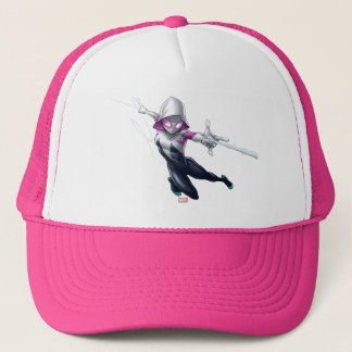 Spider-Gwen Web Slinging Through City Trucker Hat