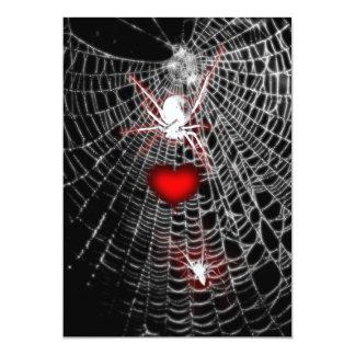 "Spider Heart Goth Wedding Invitations 5"" X 7"" Invitation Card"