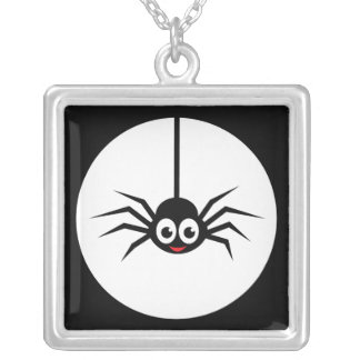 Spider in front of full moon necklace