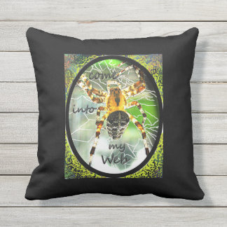 Spider in web outdoor pillow