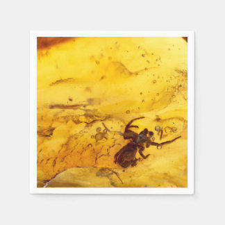 Spider inside baltic amber stone disposable napkin