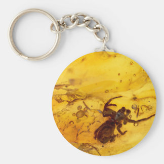 Spider inside baltic amber stone key ring