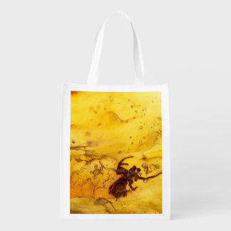 Spider inside baltic amber stone reusable grocery bag