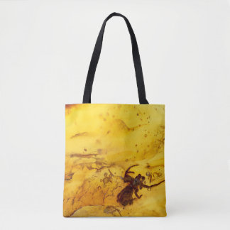 Spider inside baltic amber stone tote bag