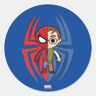 Spider-Man and Peter Parker Dual Identity Round Sticker