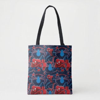 Spider-Man and Spider Logo Pattern Tote Bag