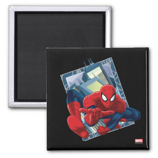 Spider-Man City Character Graphic Square Magnet