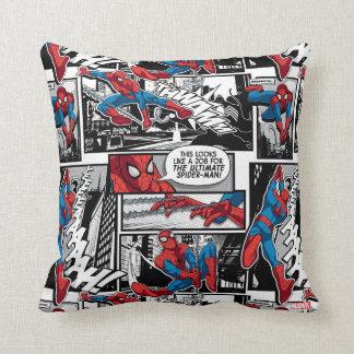 Spider-Man Comic Panel Pattern Throw Pillow