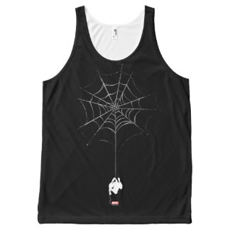 Spider-Man Hanging From Web Silhouette All-Over Print Tank Top