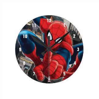 Spider-Man High Above the City Round Clock