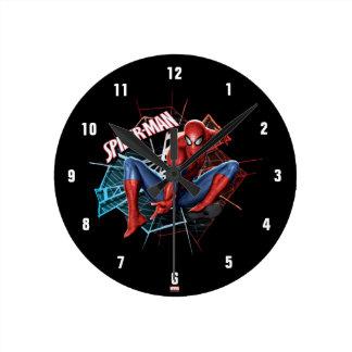 Spider-Man in Fractured Web Graphic Round Clock