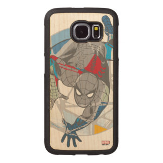 Spider-Man In Kaleidoscope Web Wood Phone Case
