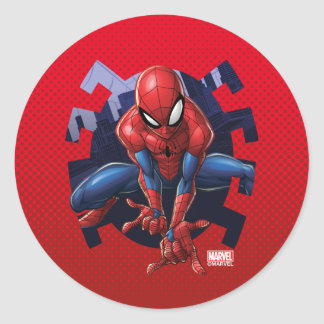 Spider-Man Leaping Out Of Spider Graphic Classic Round Sticker