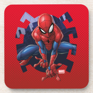 Spider-Man Leaping Out Of Spider Graphic Coaster