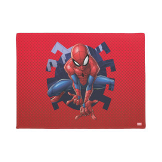 Spider-Man Leaping Out Of Spider Graphic Doormat