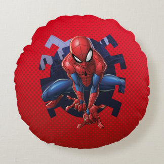 Spider-Man Leaping Out Of Spider Graphic Round Cushion