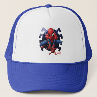 Spider-Man Leaping Out Of Spider Graphic Trucker Hat