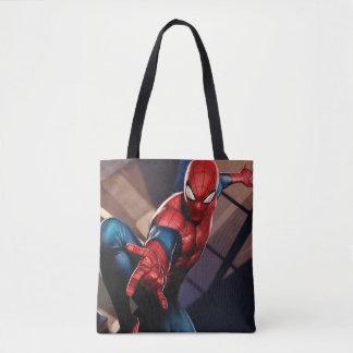 Spider-Man On Skyscraper Tote Bag