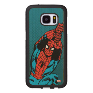 Spider-Man Retro Web Swing Wood Samsung Galaxy S7 Case
