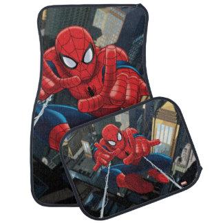 Spider-Man Shooting Web High Above City Car Mat