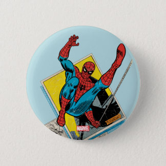 Spider-Man Swinging Out Of Comic Panels 6 Cm Round Badge