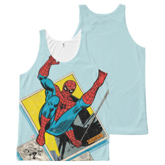 Spider-Man Swinging Out Of Comic Panels All-Over Print Singlet