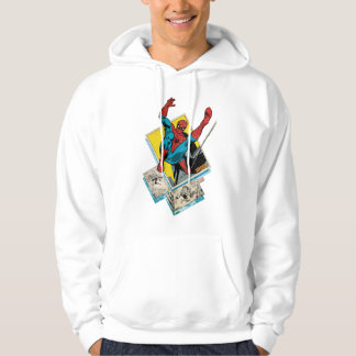 Spider-Man Swinging Out Of Comic Panels Hoodie
