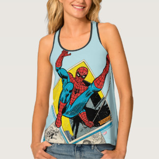 Spider-Man Swinging Out Of Comic Panels Singlet