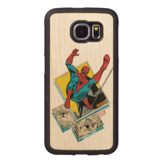 Spider-Man Swinging Out Of Comic Panels Wood Phone Case
