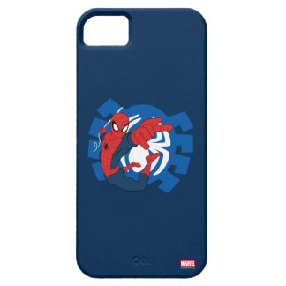 Spider-Man Swinging Over Blue Logo iPhone 5 Covers